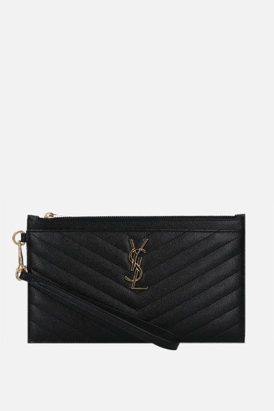 SAINT LAURENT: Monogram quilted leather pouch Color Black_1