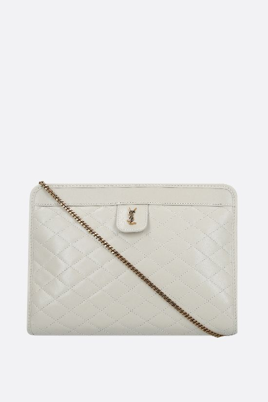 SAINT LAURENT: Victoire baby quilted nappa clutch Color Neutral_1