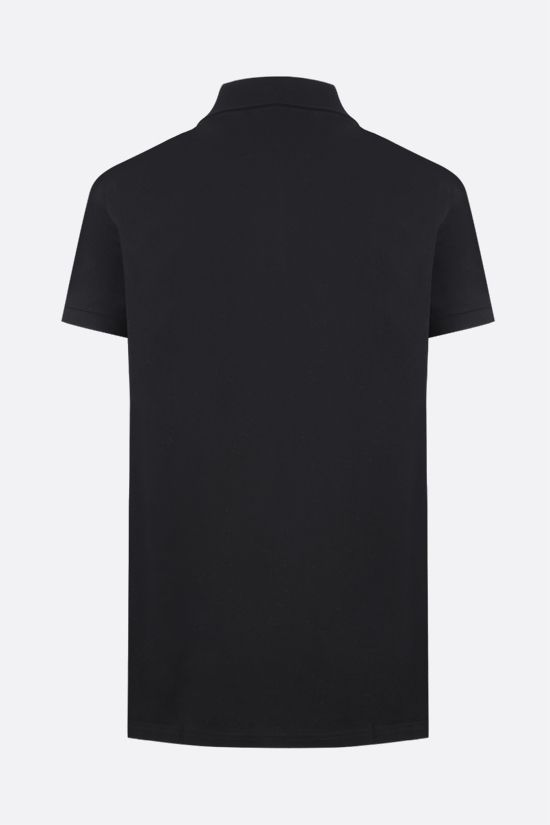 SAINT LAURENT: Monogram cotton polo shirt Color Black_2
