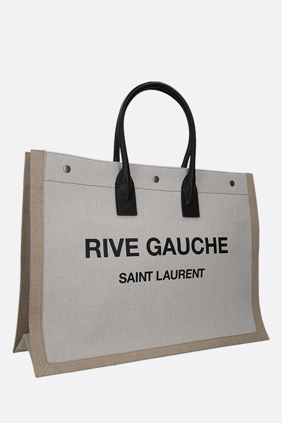 SAINT LAURENT: Rive Gauche canvas tote bag Color White_2