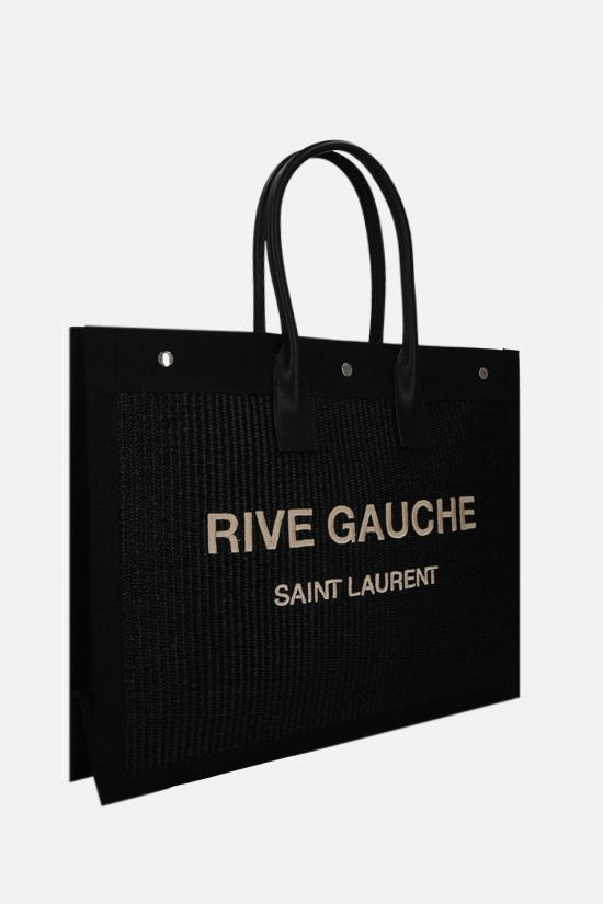 SAINT LAURENT: Noe raffia and canvas tote bag Color Black_2