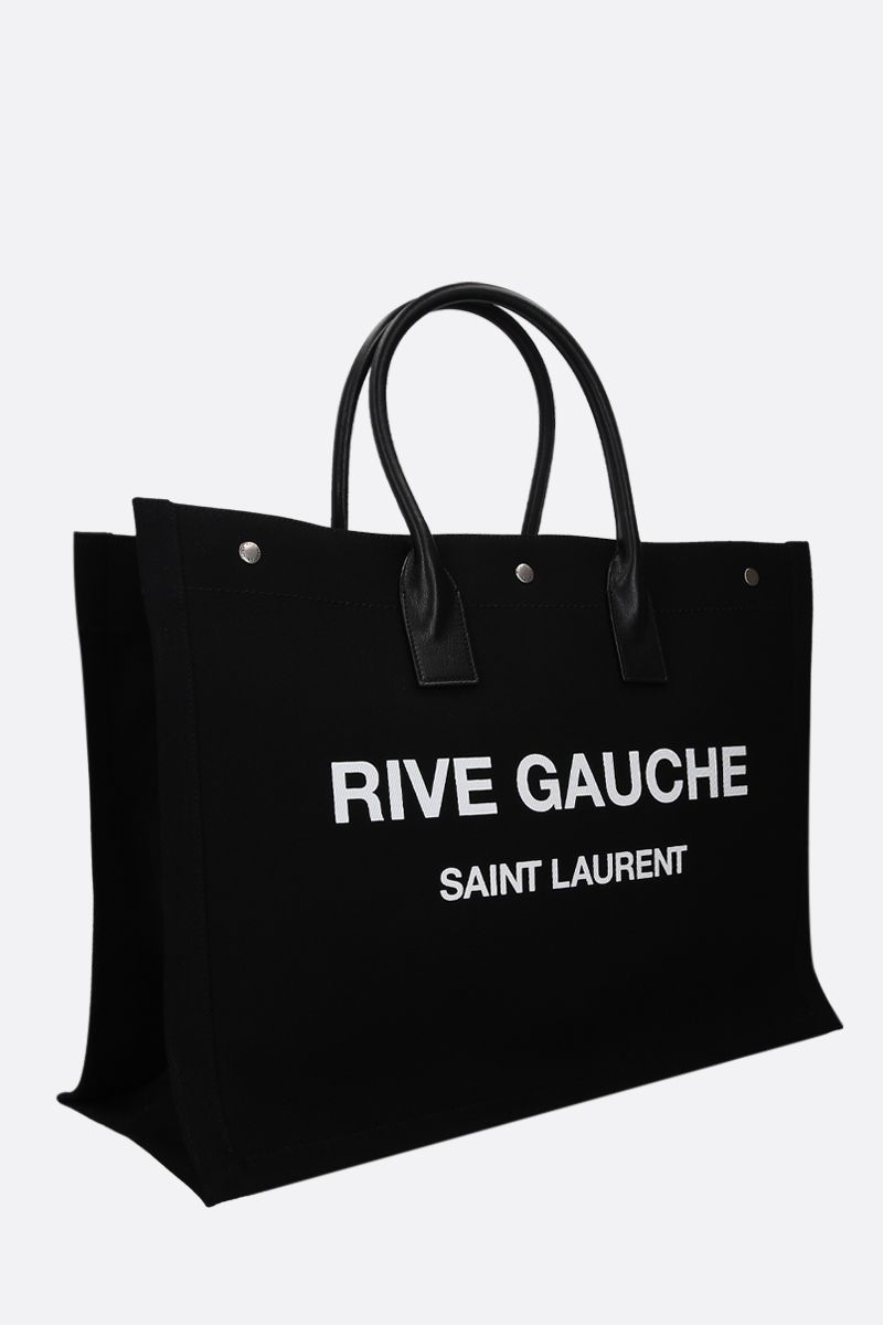 SAINT LAURENT: borsa tote Noe in canvas Colore Nero_2