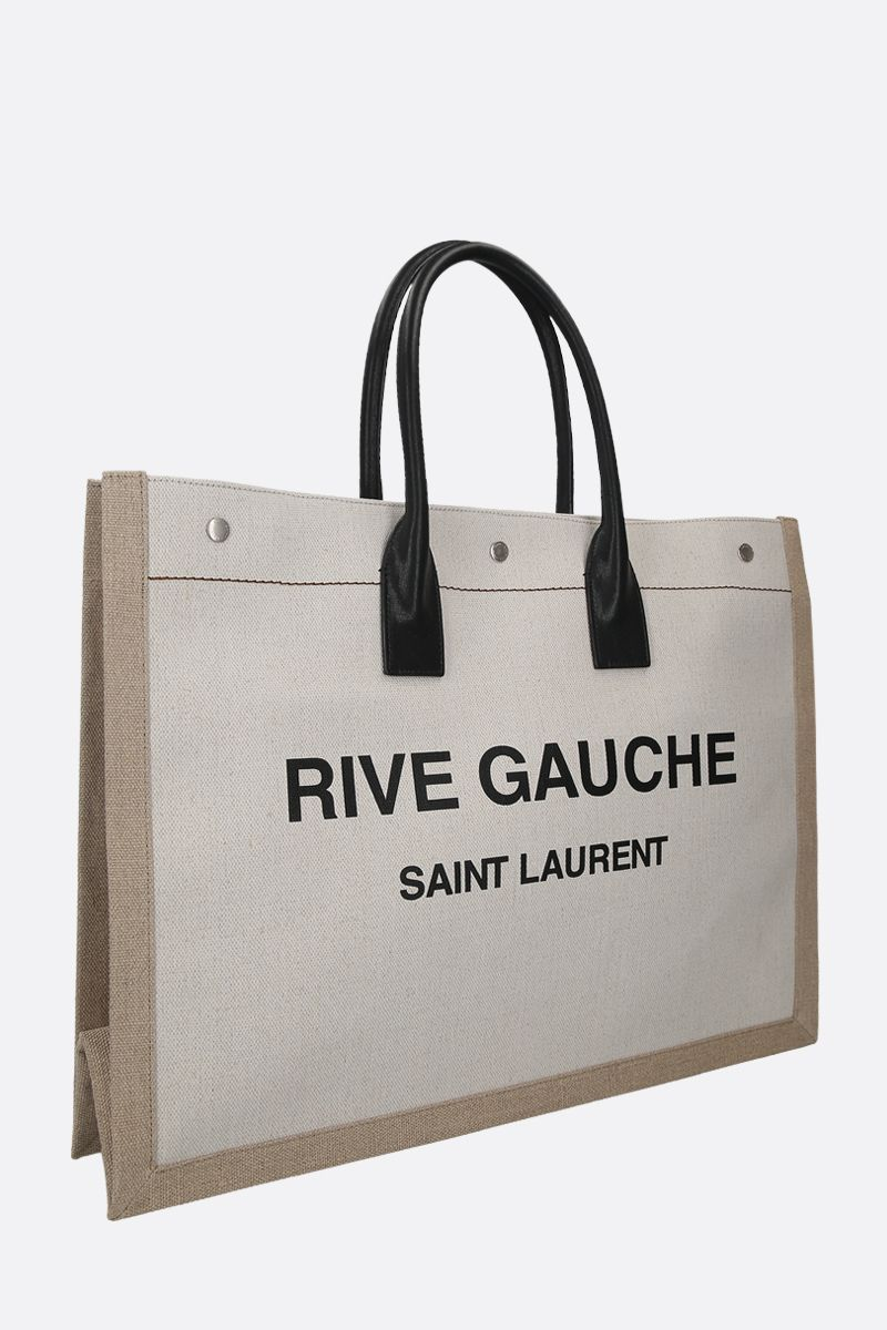 SAINT LAURENT: Noe linen canvas tote bag Color Grey_2