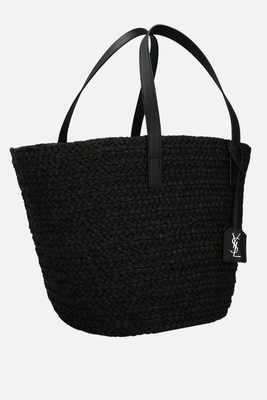 SAINT LAURENT: Panier medium raffia bucket bag Color Black_2