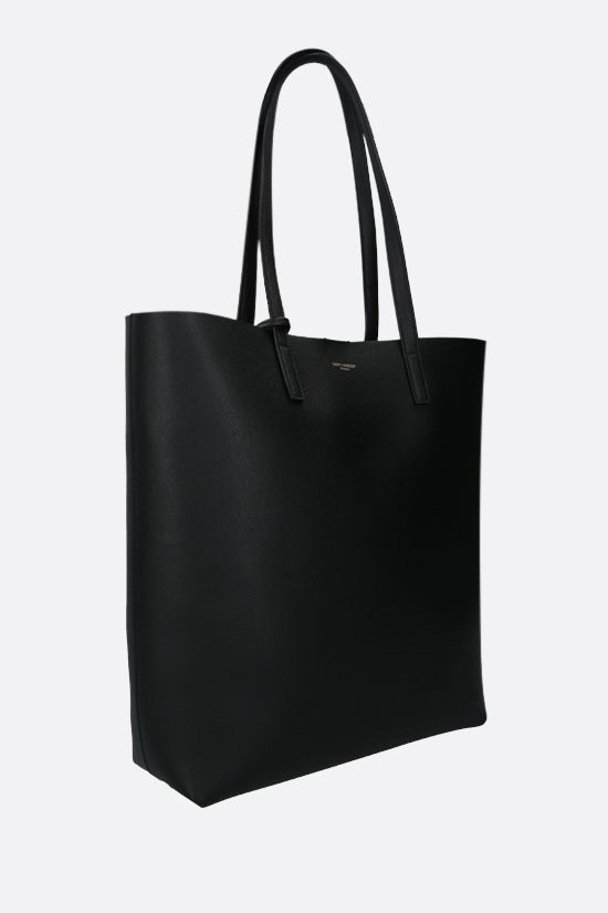 SAINT LAURENT: North South smooth leather tote Color Black_2
