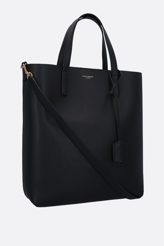 SAINT LAURENT: North South small textured leather tote bag Color Black_2