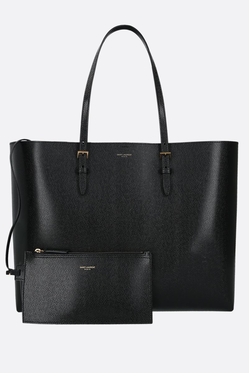SAINT LAURENT: E/W Boucle textured leather tote Color Black_2