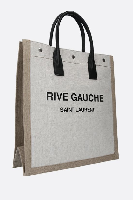 SAINT LAURENT: Rive Gauche N/S canvas tote bag Color White_2