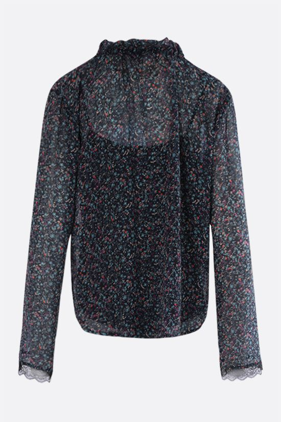 SEE BY CHLOÈ: Floral haze print georgette blouse Color Blue_2