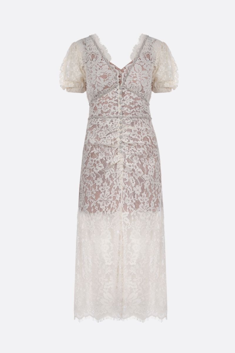 SELF PORTRAIT: jewel button-detailed floral lace midi dress Color White_1