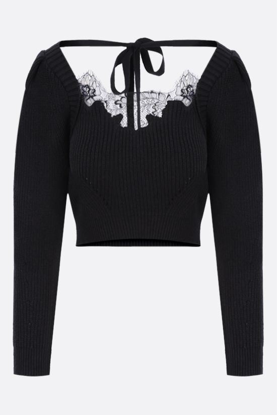 SELF PORTRAIT: cotton wool blend cropped pullover Color Black_1
