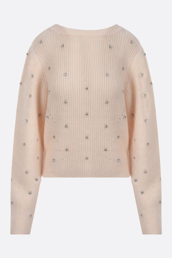 SELF PORTRAIT: crystal-embellished wool blend pullover Color White_1