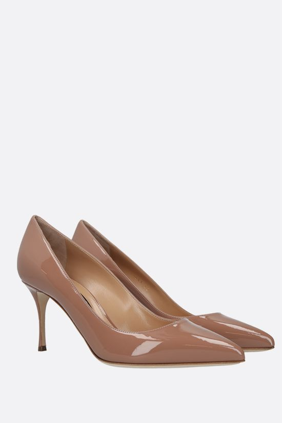 SERGIO ROSSI: Godiva patent leather pumps Color Neutral_2