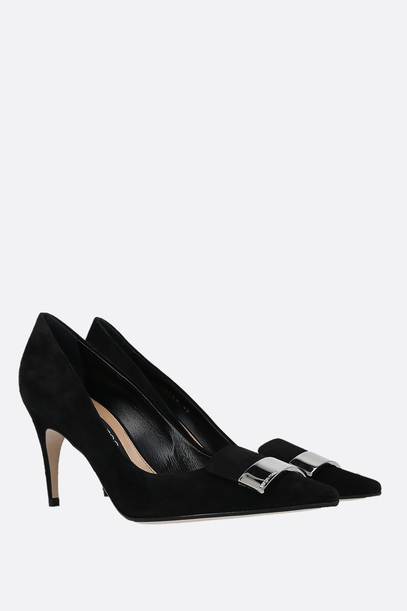 SERGIO ROSSI: SR1 velvet suede pumps Color Black_2