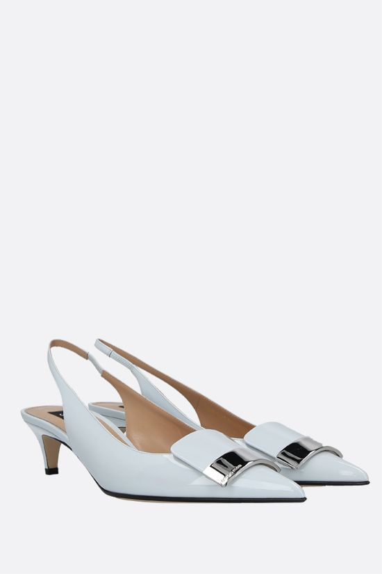 SERGIO ROSSI: sr1 patent leather slingbacks Color Grey_2