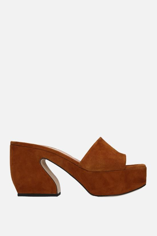 SI ROSSI: SI ROSSI velvet suede mule sandals Color Brown_1