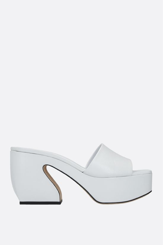 SI ROSSI: Si Rossi soft nappa mule sandals Color White_1