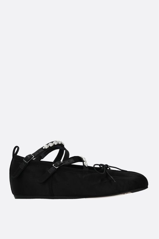 SIMONE ROCHA: pearl and crystal-embellished satin ballerinas Color Black_1