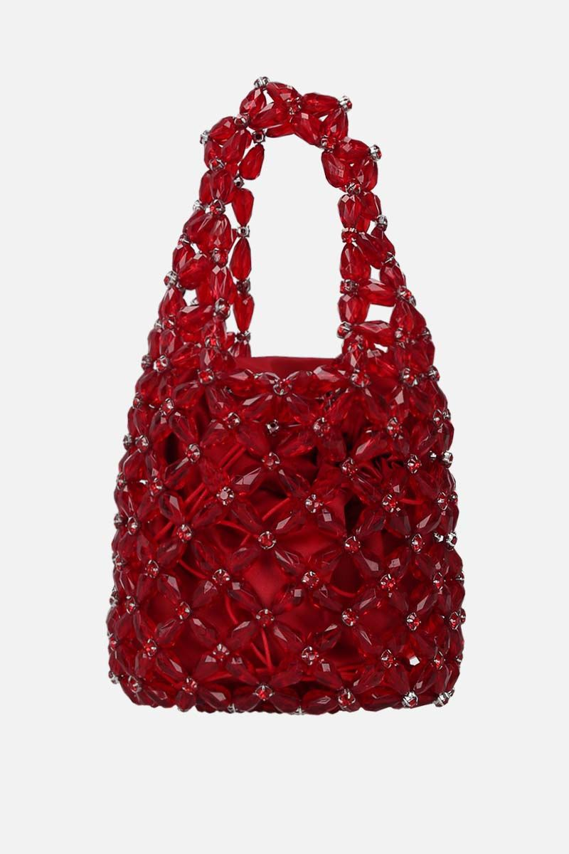 SIMONE ROCHA: crystal-embellished resin small shopping bag Color Red_1