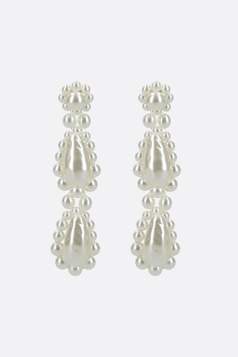 SIMONE ROCHA: bead-embellished brass short drop earrings Color Grey_1