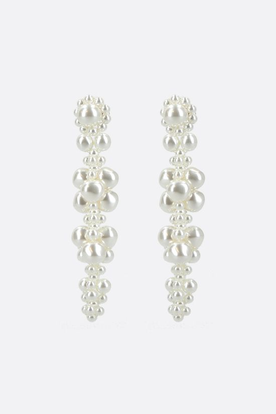 SIMONE ROCHA: Cluster Drip pearl-embellished metal earrings Color White_1