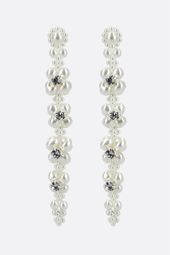 SIMONE ROCHA: Cluster Drip pearl-embellished metal long earrings Color White_1