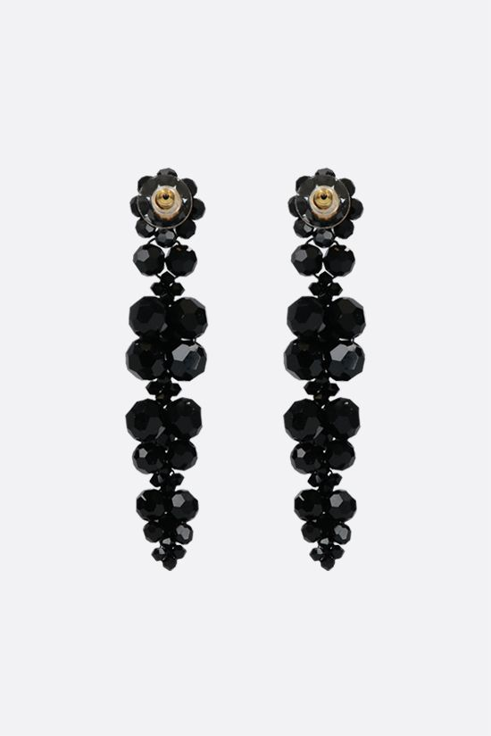 SIMONE ROCHA: Cluster Drip crystal-embellished brass earrings Color Black_2