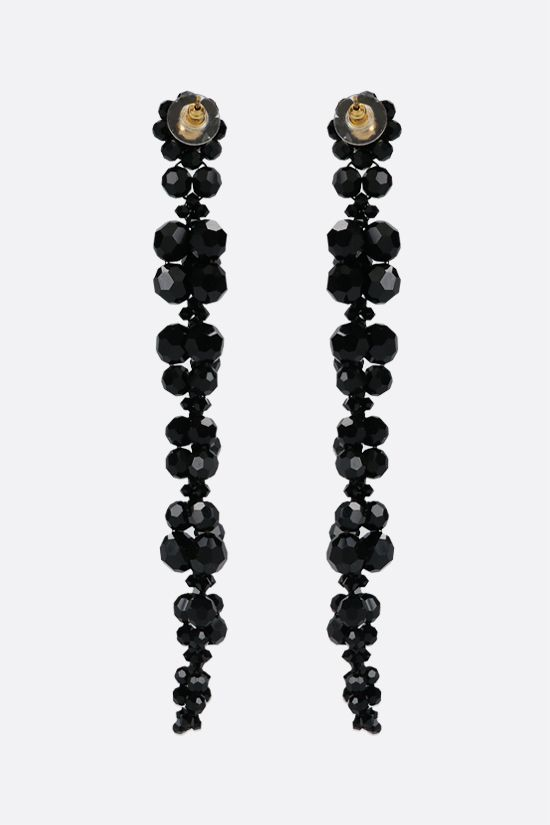 SIMONE ROCHA: Cluster Drip crystal-embellished brass long earrings Color Black_2