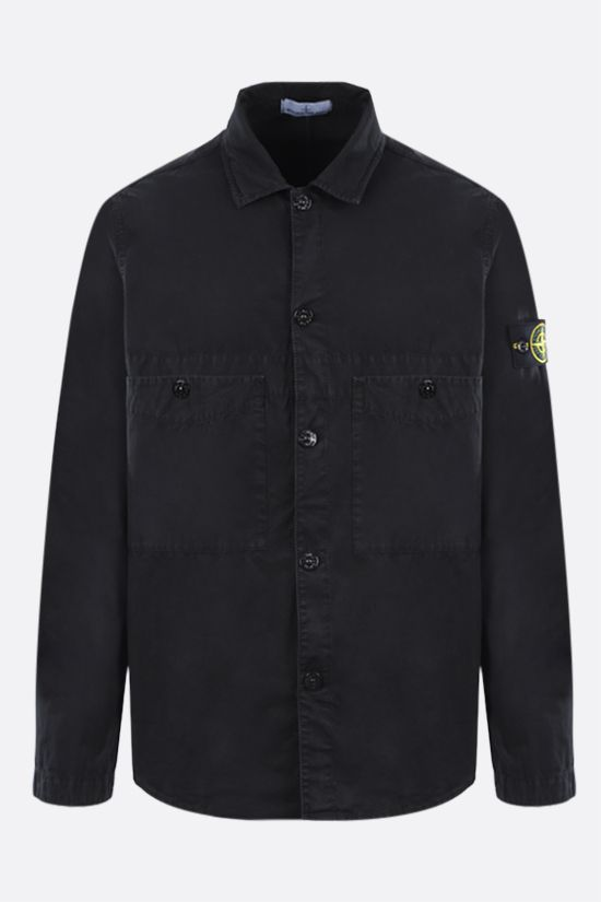 STONE ISLAND: logo badge-detailed cotton shirt Color Black_1