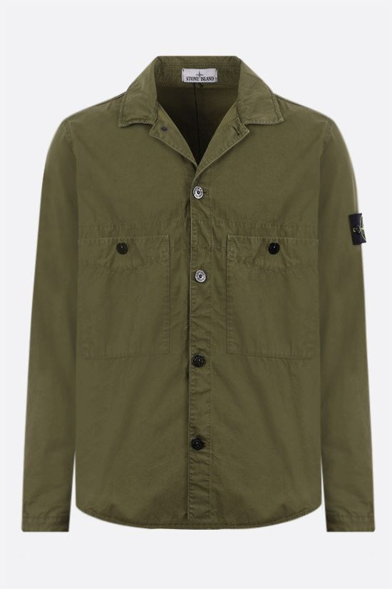 STONE ISLAND: logo badge-detailed cotton shirt Color Green_1