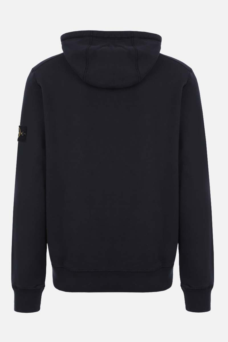 STONE ISLAND: logo badge-detailed cotton hoodie Color Blue_2