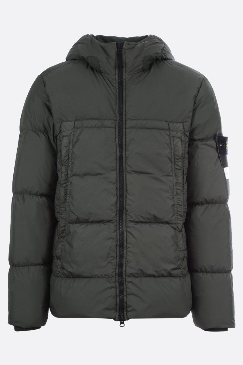 STONE ISLAND: Crickle Reps nylon down jacket Color Green_1