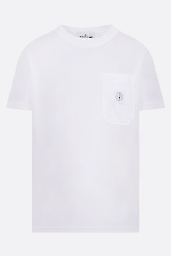 STONE ISLAND: logo-patch cotton t-shirt Color White_1