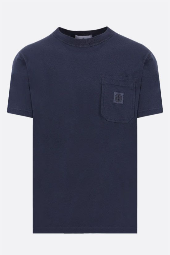 STONE ISLAND: logo patch cotton t-shirt Color Blue_1