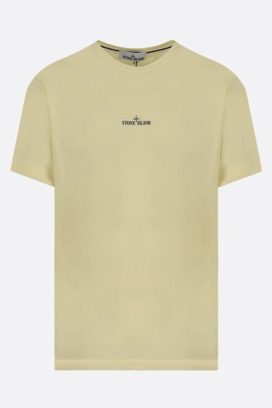 STONE ISLAND: logo print cotton t-shirt Color Yellow_1