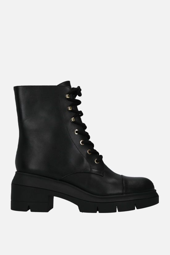 STUART WEITZMAN: Nisha smooth leather combat boots Color Black_1