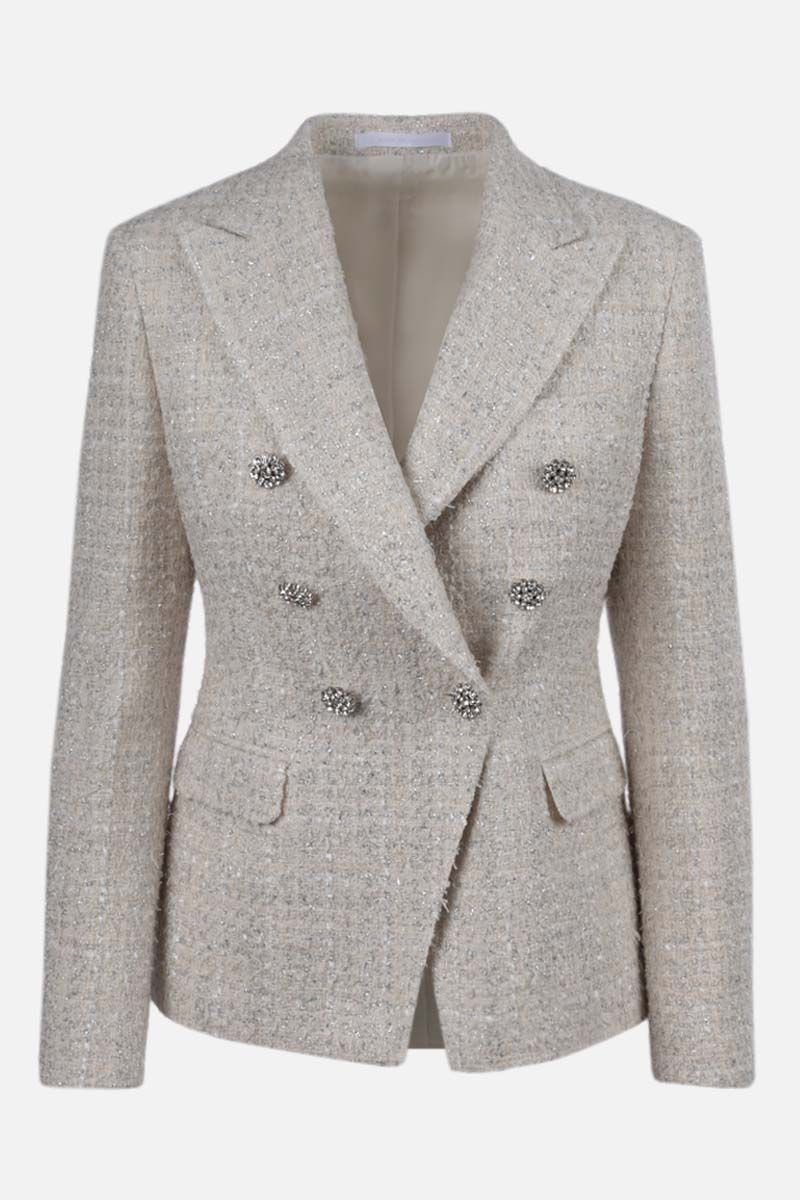 TAGLIATORE: double-breasted tweed jacket Color White_1
