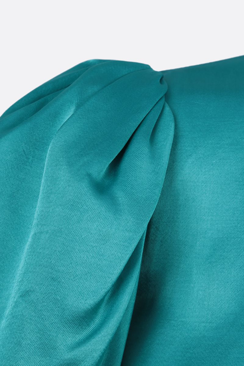 THE ATTICO: puff-sleeve-detailed twill minidress Color Blue_3