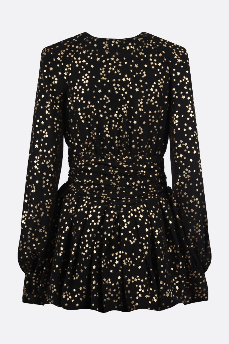 THE ATTICO: stars print chiffon minidress Color Black_2
