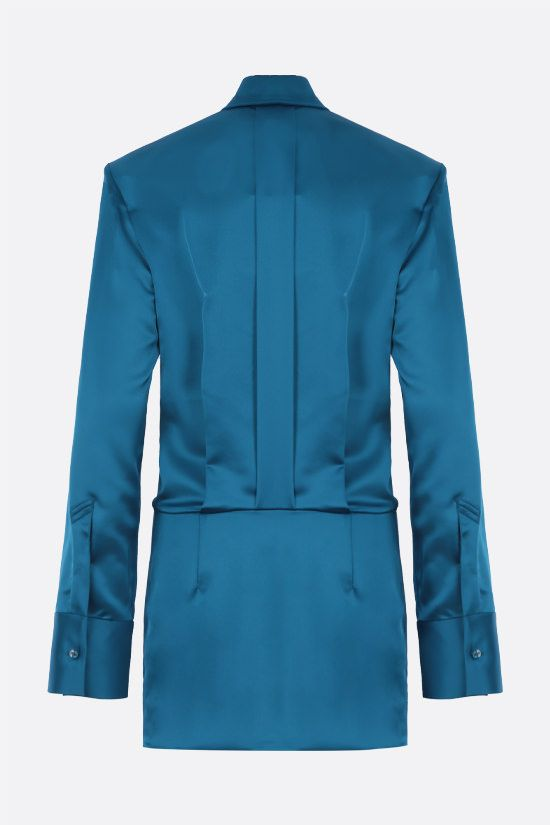 THE ATTICO: Margot stretch satin shirt minidress Color Blue_2