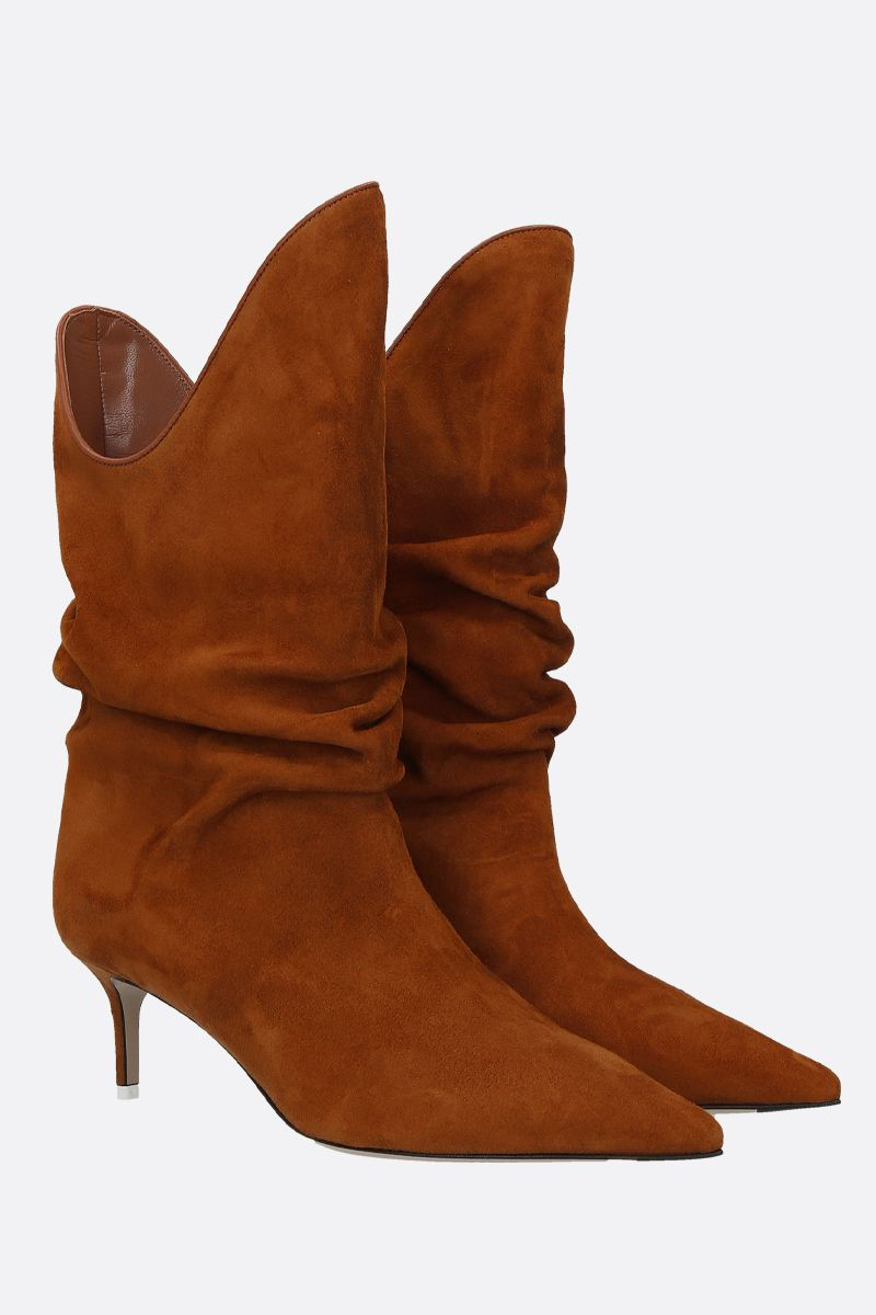 THE ATTICO: suede slouchy-effect boots Color Neutral_2