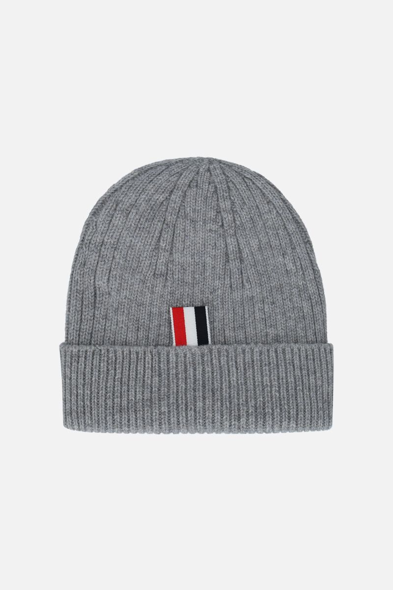THOM BROWNE: 4-bar detailed wool beanie Color Grey_2