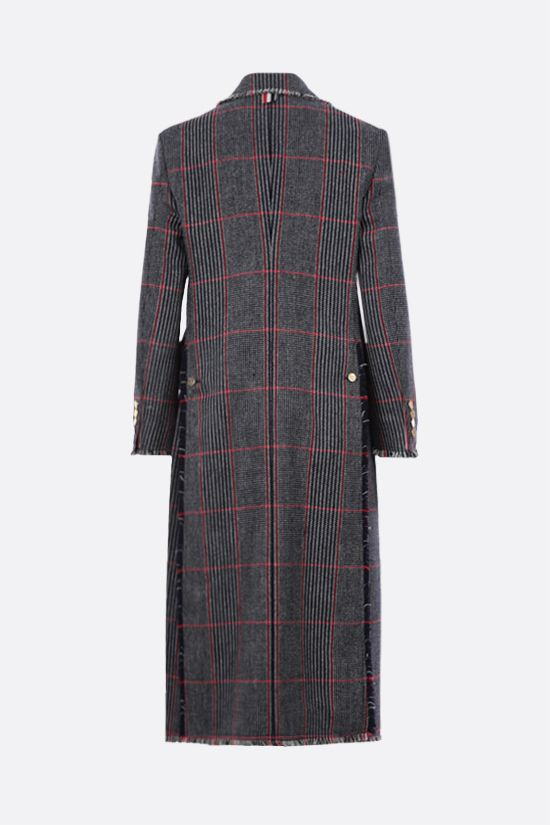 THOM BROWNE: single-breasted check wool coat Color Multicolor_2