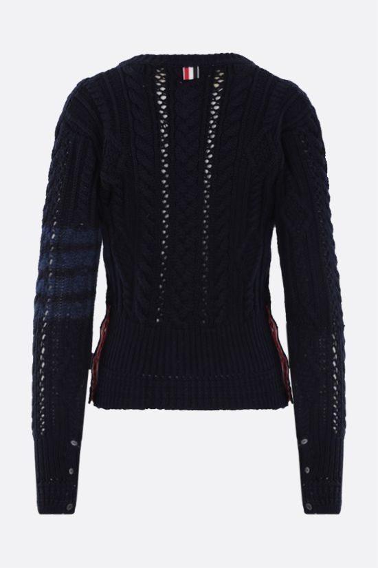 THOM BROWNE: 4-bar intarsia wool cardigan Color Blue_2