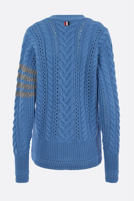 THOM BROWNE: 4-bar intarsia wool cable-knit cardigan Color Blue_2