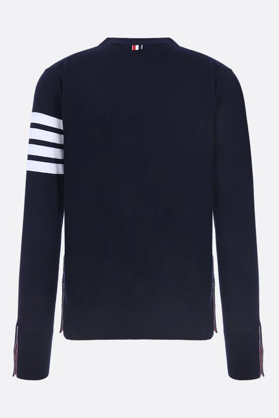 THOM BROWNE: 4-bar detailed wool cardigan Color Blue_2