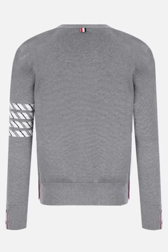 THOM BROWNE: 4-bar detailed cotton cardigan Color Grey_2