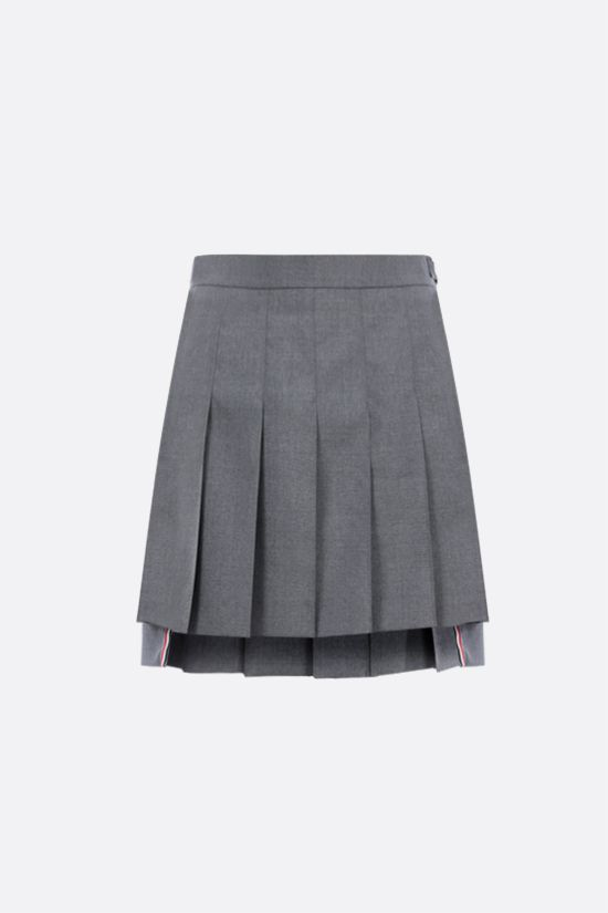 THOM BROWNE: wool blend pleated miniskirt Color Grey_1