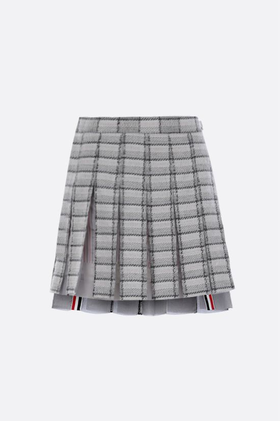 THOM BROWNE: organdy insert-detailed tweed pleated miniskirt Color Grey_1