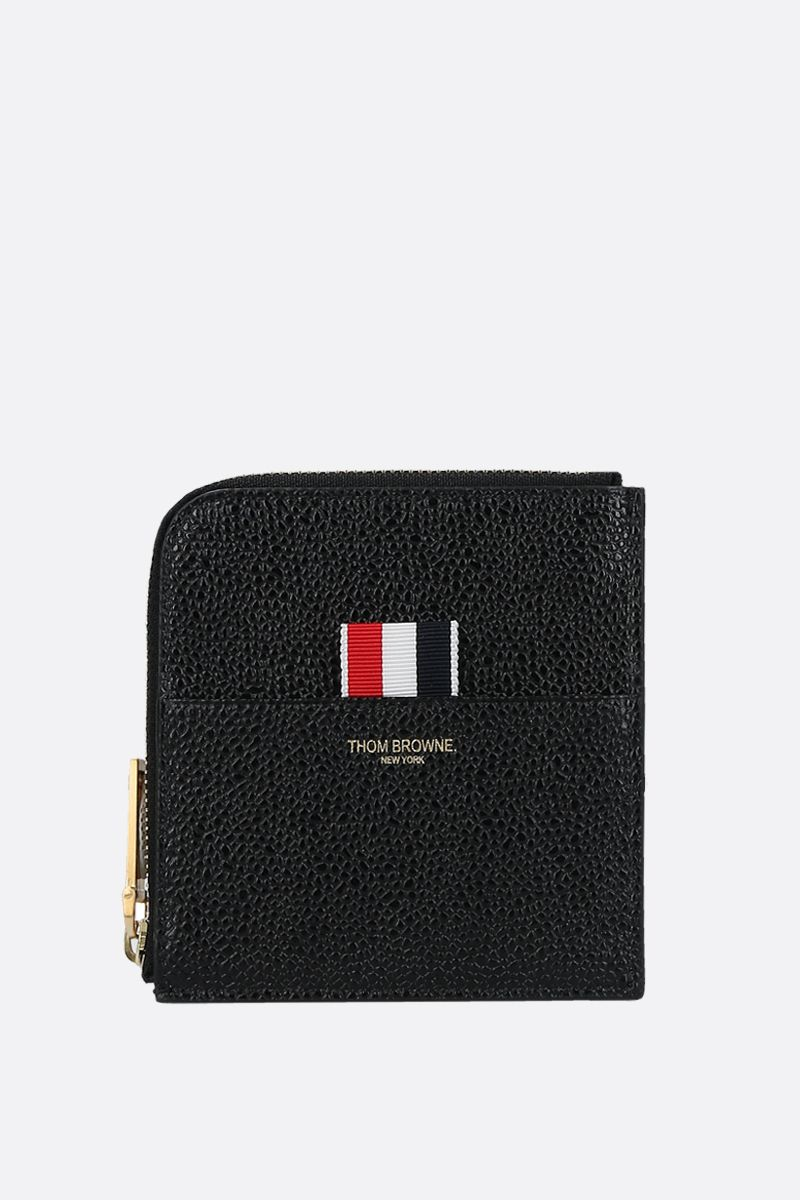THOM BROWNE: Pebble Grain half-zip wallet Color Black_1